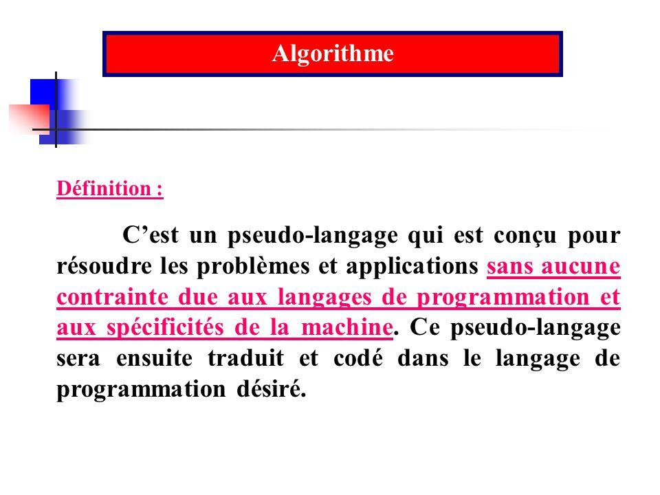 Algorithme Définition :