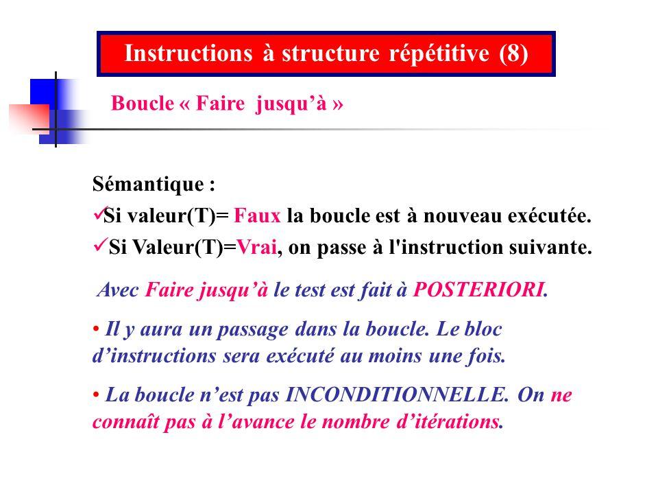 Instructions à structure répétitive (8)