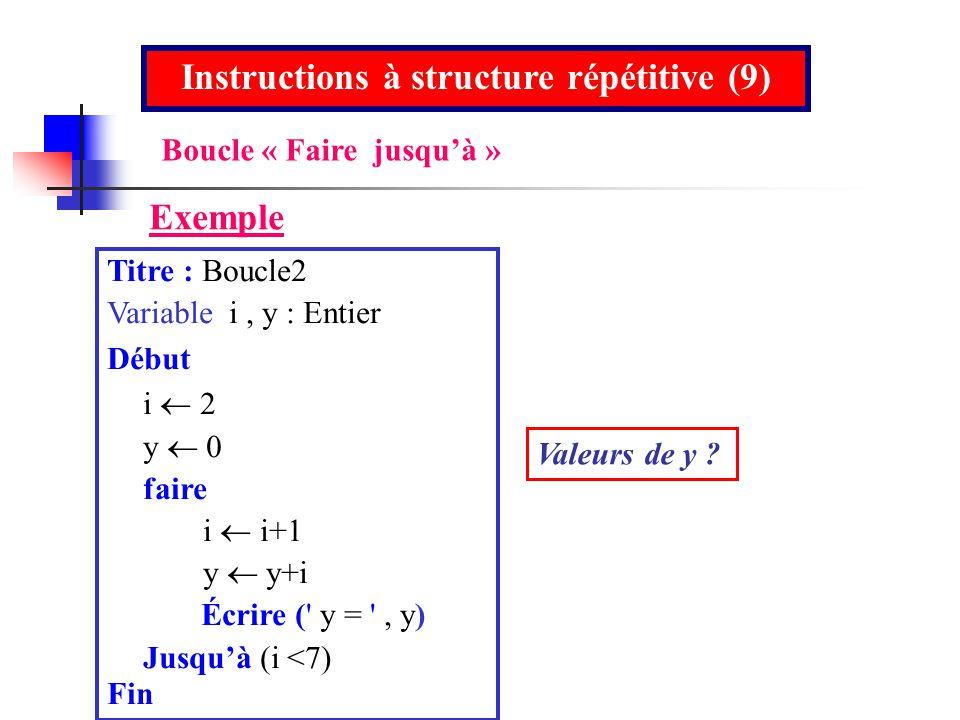 Instructions à structure répétitive (9)
