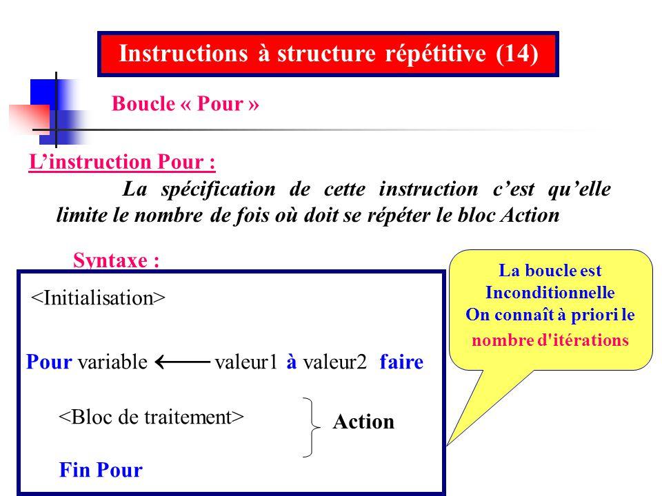 Instructions à structure répétitive (14)