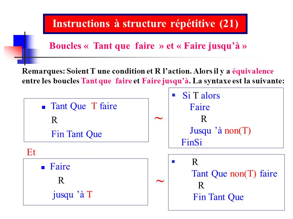 Instructions à structure répétitive (21)