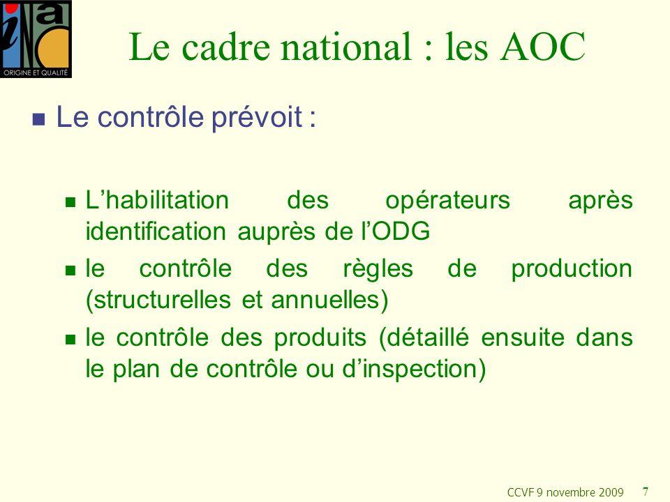 Le cadre national : les AOC