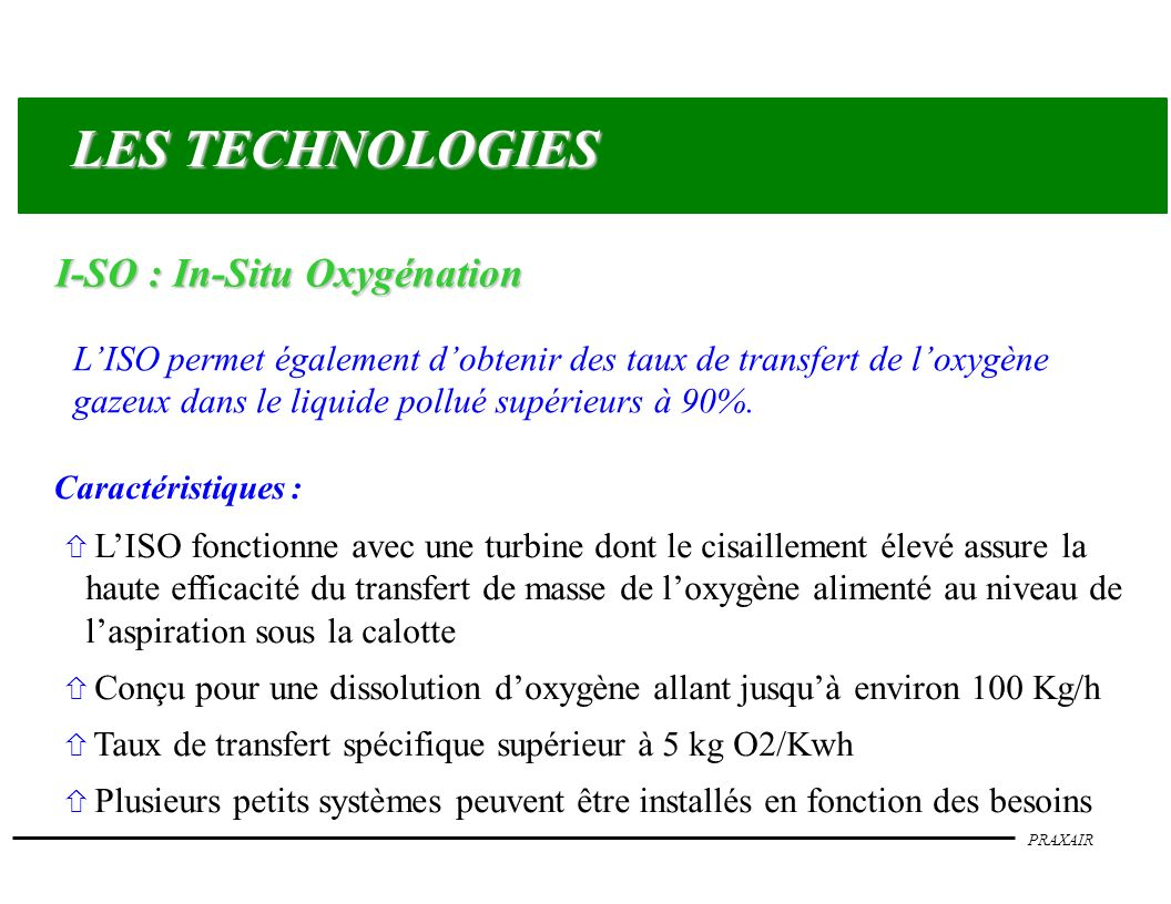 LES TECHNOLOGIES I-SO : In-Situ Oxygénation