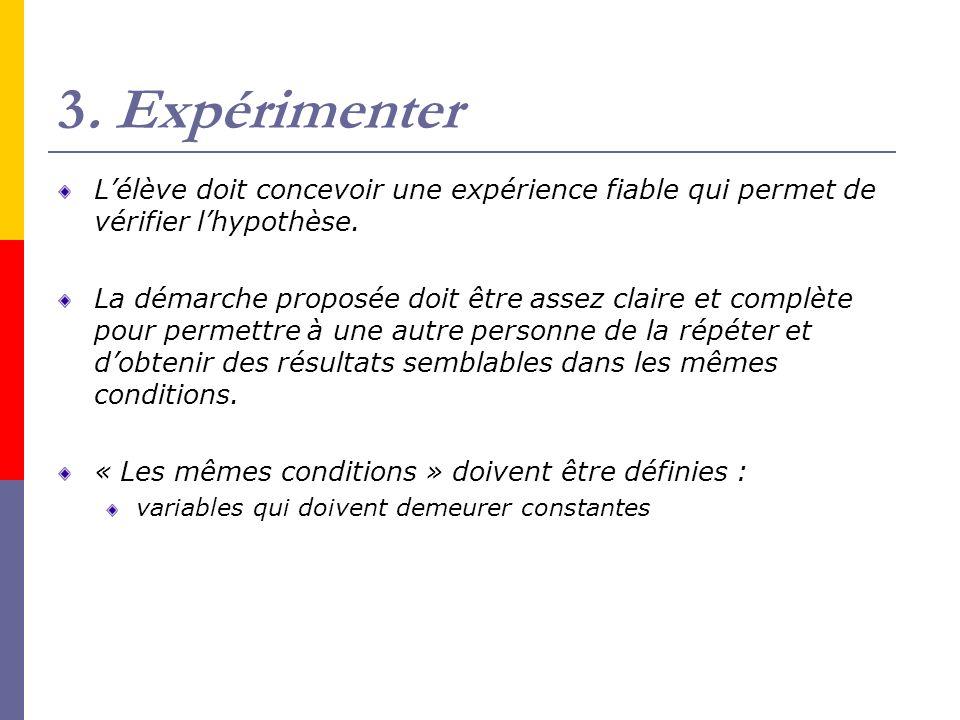 3. Expérimenter L'élève doit concevoir une expérience fiable qui permet de vérifier l'hypothèse.