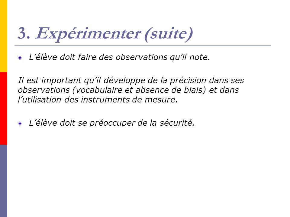 3. Expérimenter (suite) L'élève doit faire des observations qu'il note.