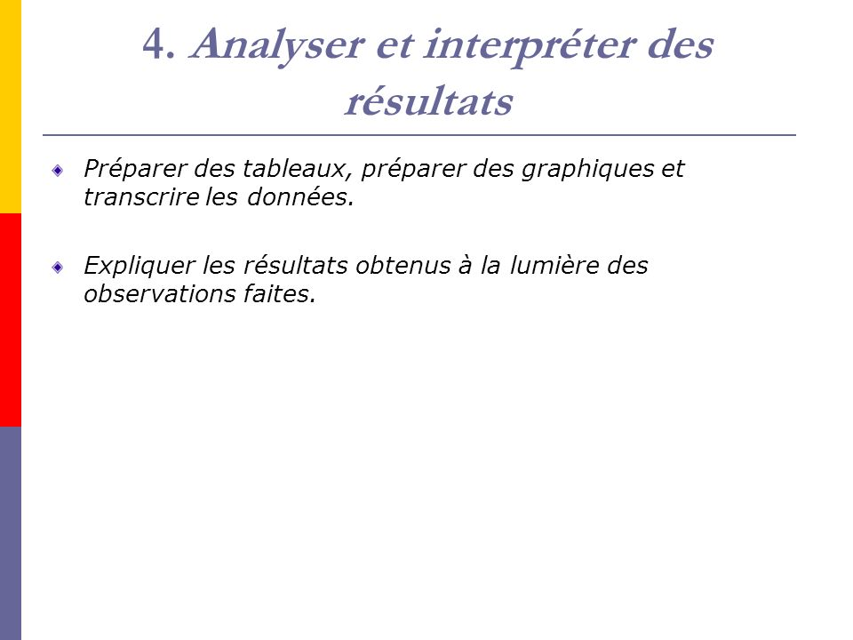 4. Analyser et interpréter des résultats