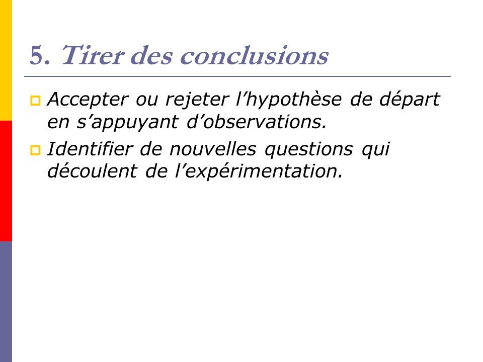 5. Tirer des conclusions Accepter ou rejeter l'hypothèse de départ en s'appuyant d'observations.