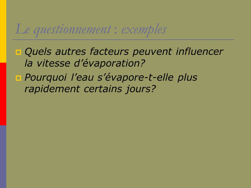 Le questionnement : exemples