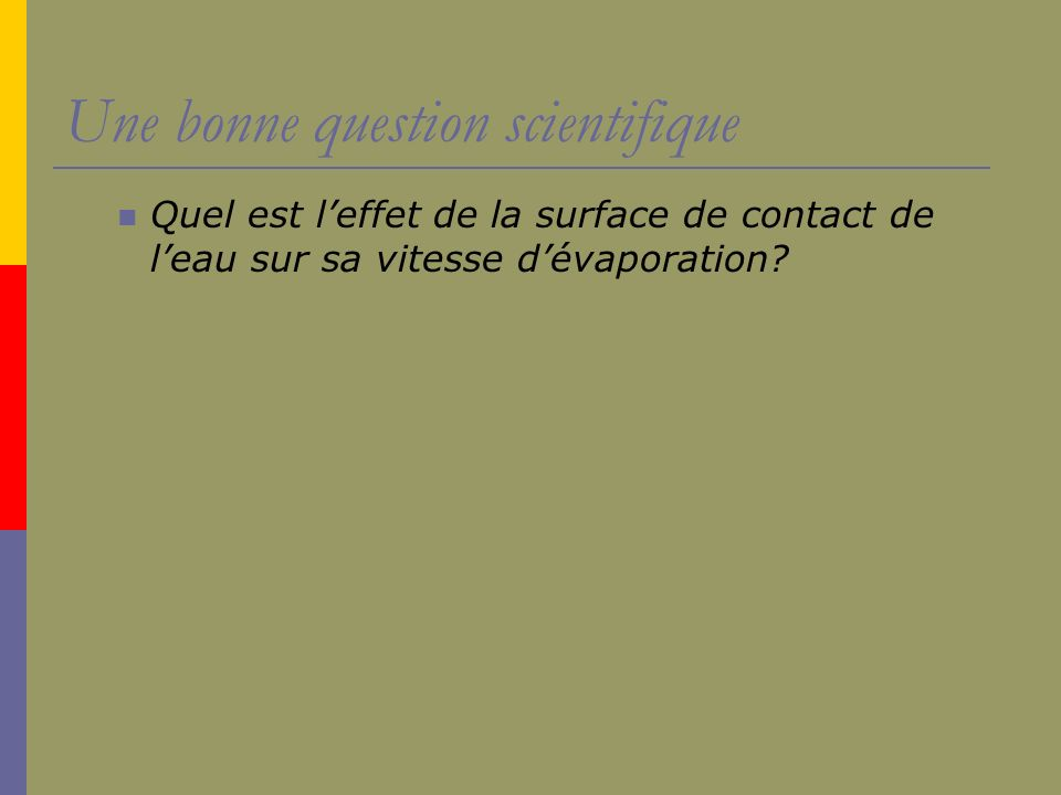 Une bonne question scientifique