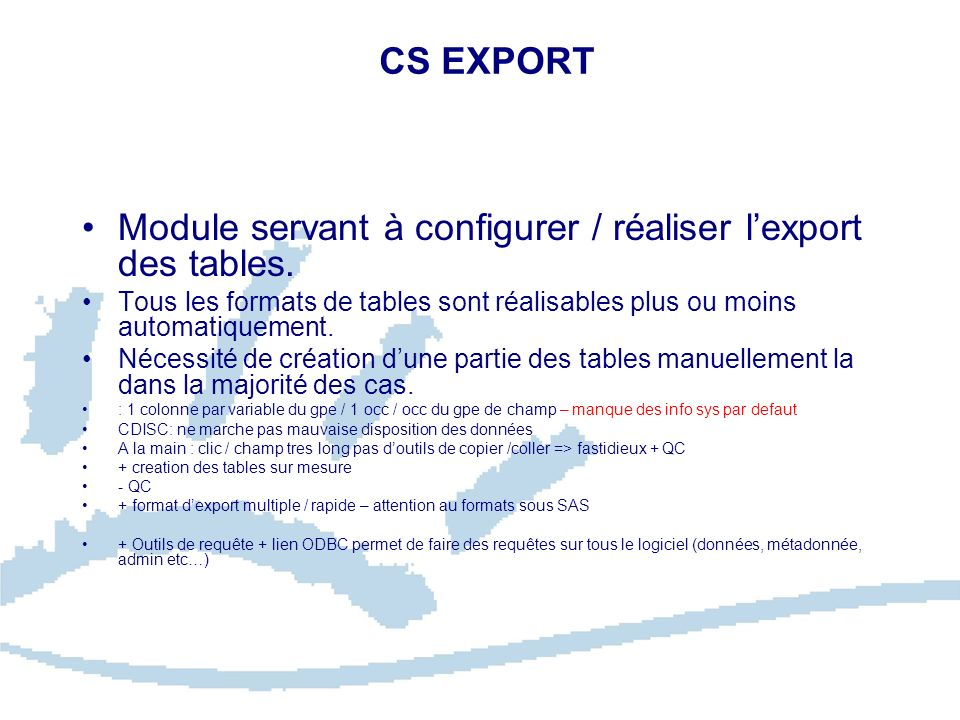 Module servant à configurer / réaliser l'export des tables.