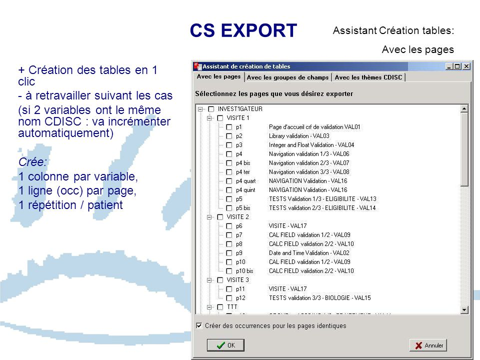 CS EXPORT + Création des tables en 1 clic