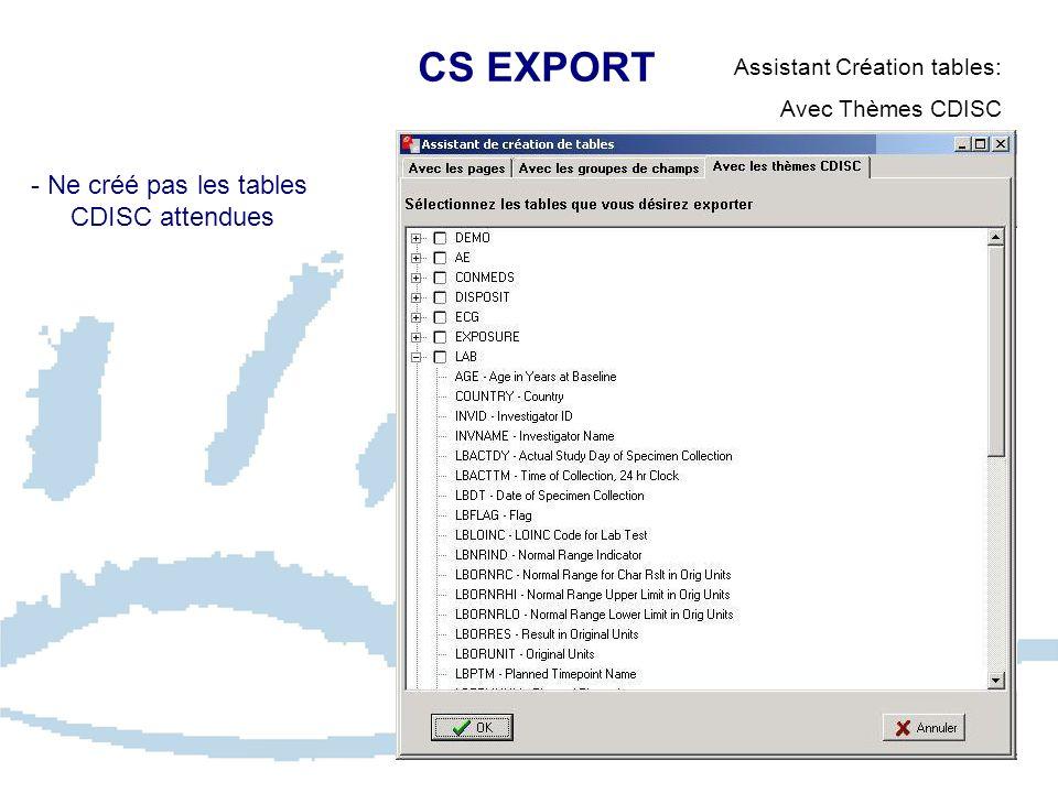 CS EXPORT - Ne créé pas les tables CDISC attendues