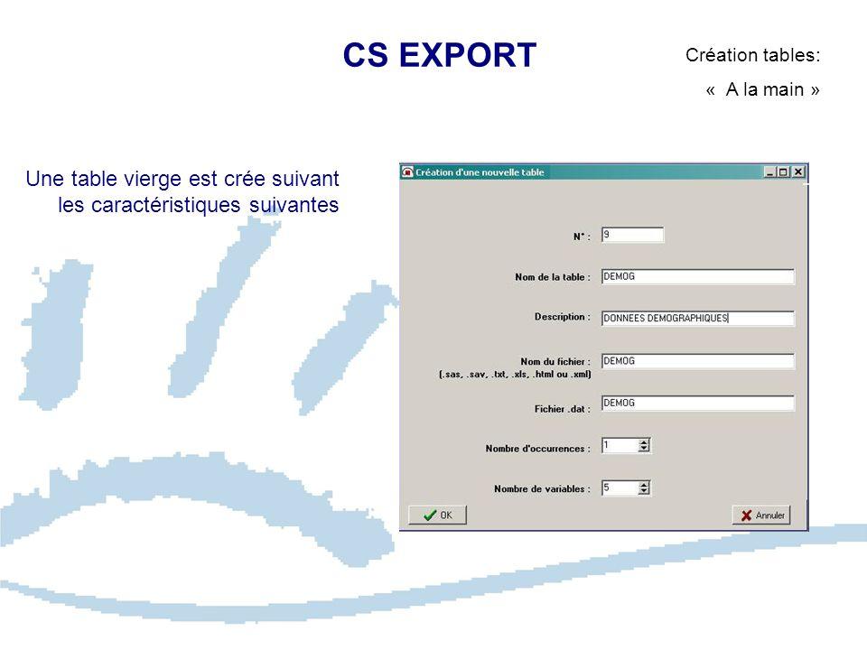 CS EXPORT Création tables: « A la main » Une table vierge est crée suivant les caractéristiques suivantes.