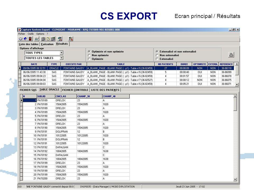 CS EXPORT Ecran principal / Résultats