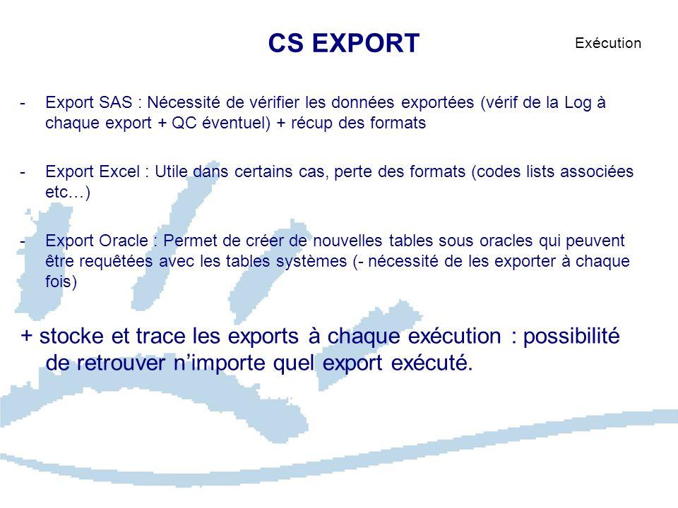 CS EXPORT Exécution. Export SAS : Nécessité de vérifier les données exportées (vérif de la Log à chaque export + QC éventuel) + récup des formats.