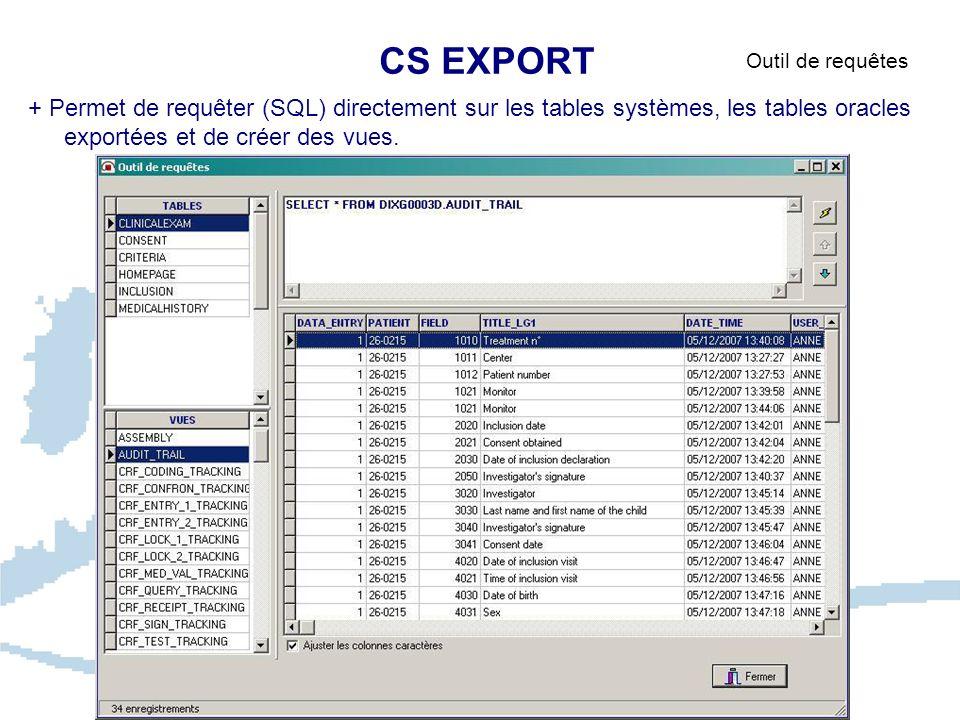 CS EXPORT Outil de requêtes.