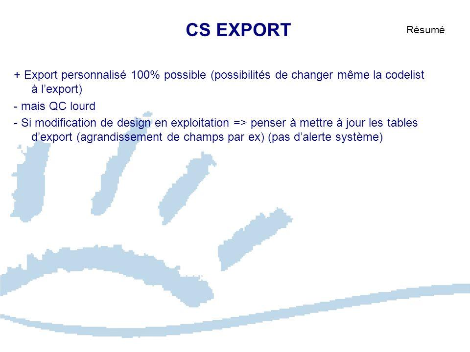 CS EXPORT Résumé. + Export personnalisé 100% possible (possibilités de changer même la codelist à l'export)