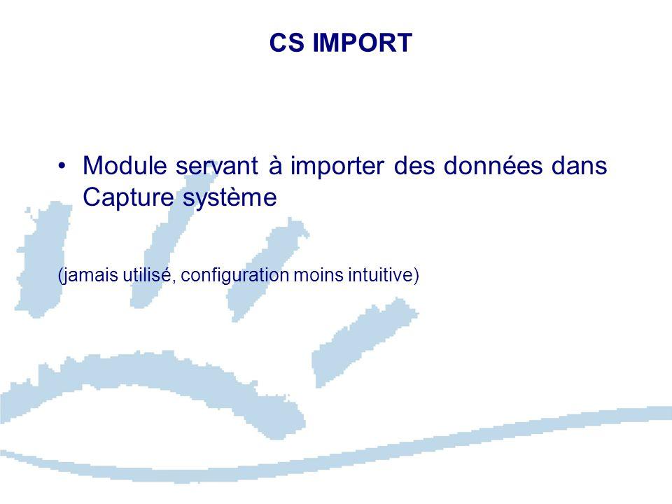 Module servant à importer des données dans Capture système
