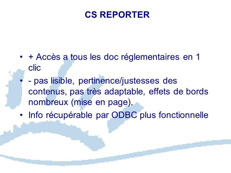 CS REPORTER + Accès a tous les doc réglementaires en 1 clic.