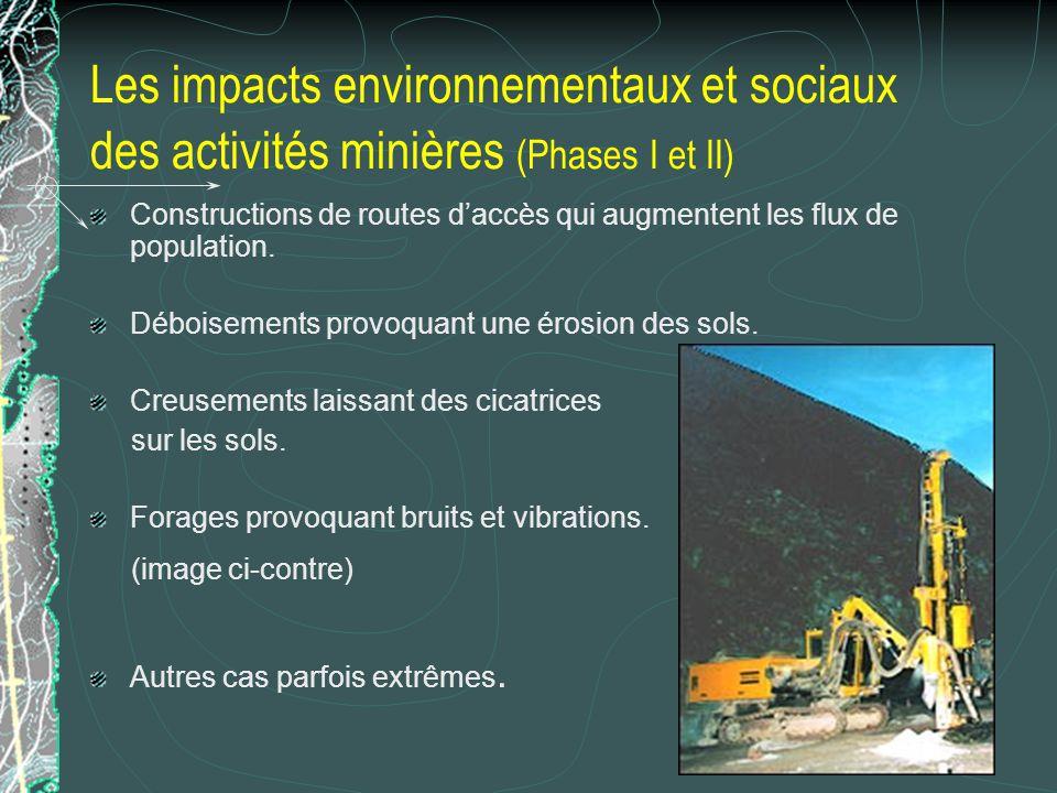 Les impacts environnementaux et sociaux des activités minières (Phases I et II)