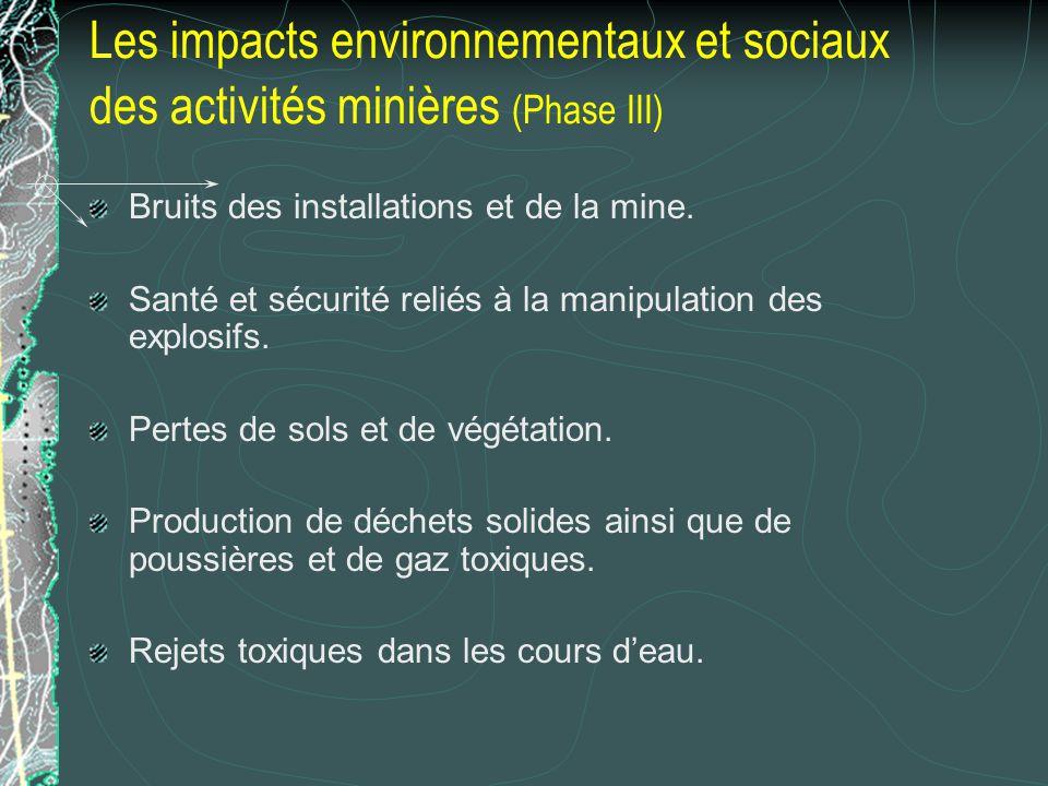 Les impacts environnementaux et sociaux des activités minières (Phase III)