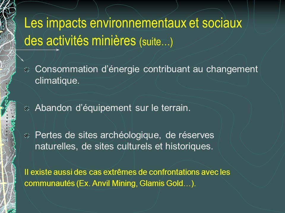 Les impacts environnementaux et sociaux des activités minières (suite…)