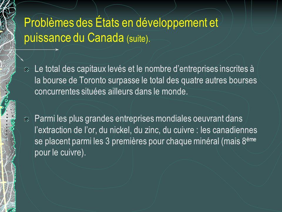 Problèmes des États en développement et puissance du Canada (suite).