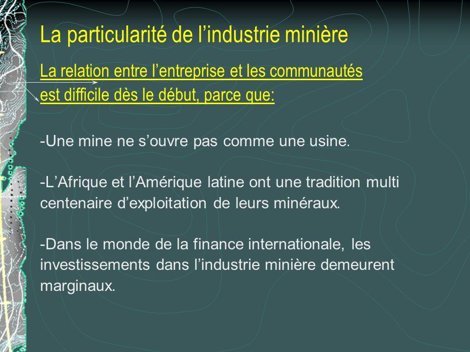 La particularité de l'industrie minière
