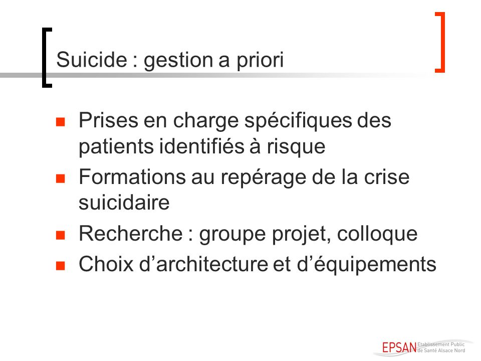 Suicide : gestion a priori