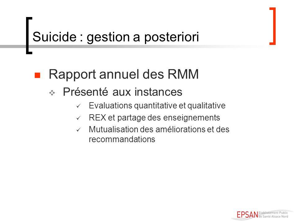 Suicide : gestion a posteriori