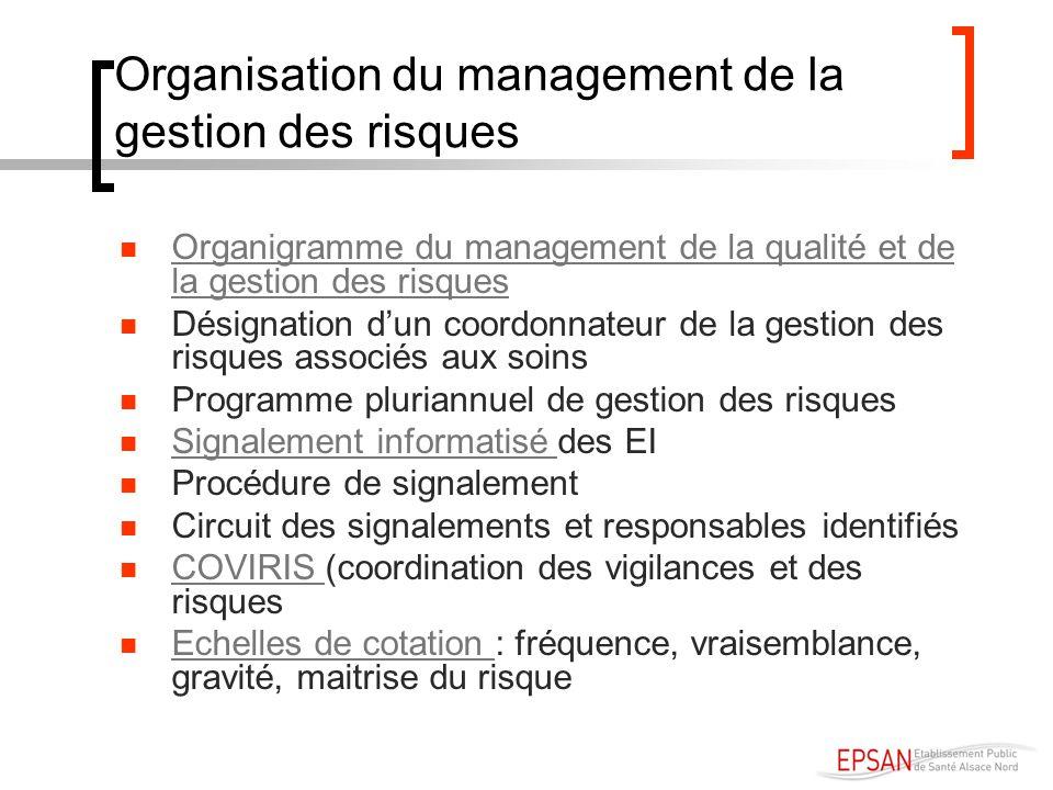 Organisation du management de la gestion des risques