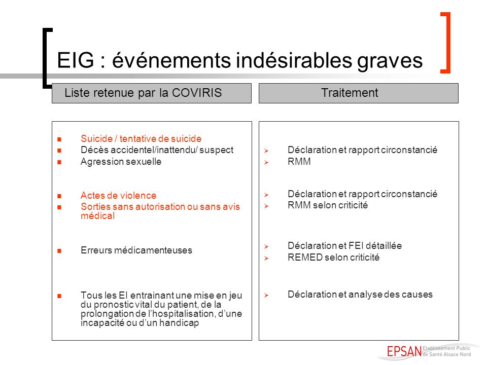 EIG : événements indésirables graves