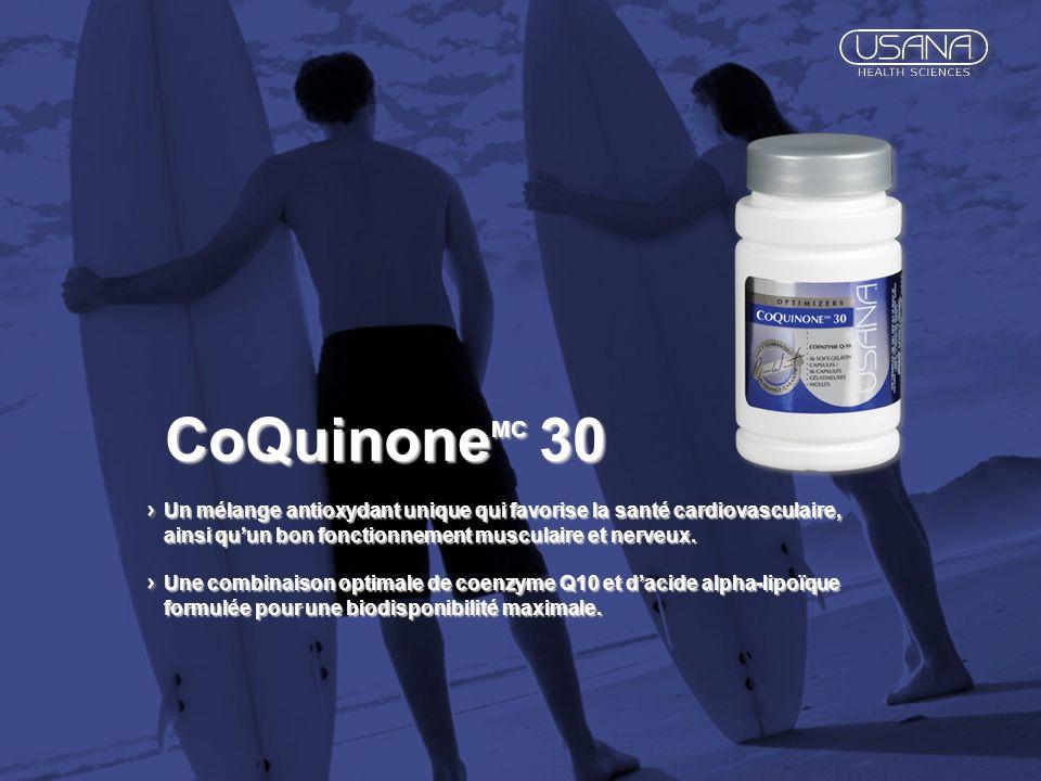 CoQuinoneMC 30 Un mélange antioxydant unique qui favorise la santé cardiovasculaire, ainsi qu'un bon fonctionnement musculaire et nerveux.