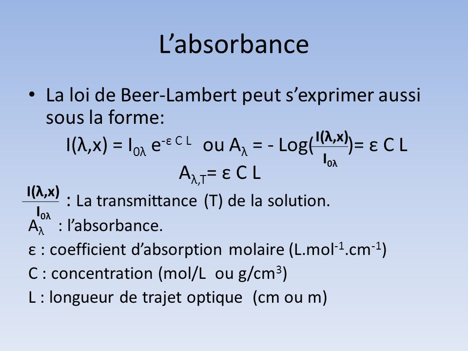 L'absorbance La loi de Beer-Lambert peut s'exprimer aussi sous la forme: I(λ,x) = I0λ e-ε C L ou Aλ = - Log( )= ε C L.