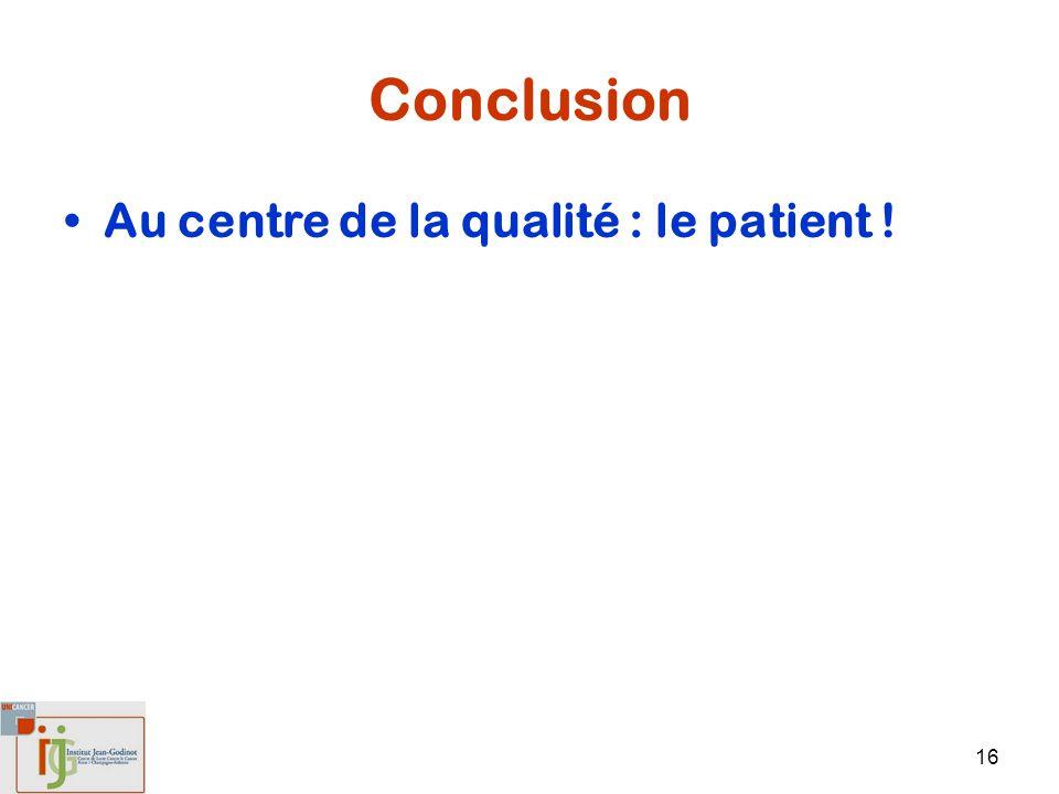 Conclusion Au centre de la qualité : le patient !