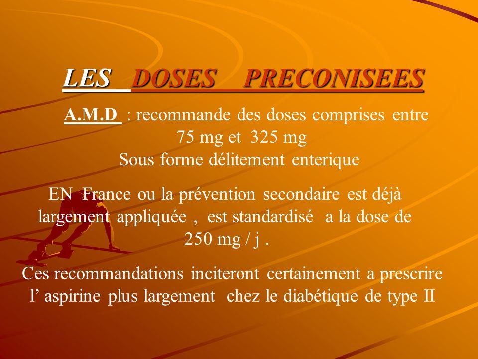 LES DOSES PRECONISEES A.M.D : recommande des doses comprises entre