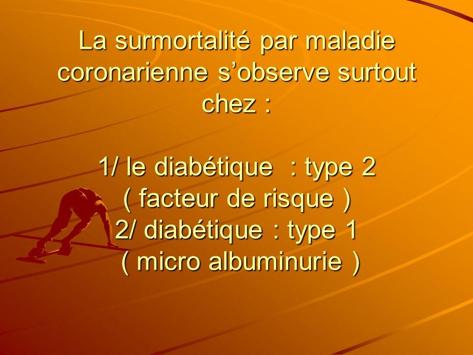 La surmortalité par maladie coronarienne s'observe surtout chez : 1/ le diabétique : type 2 ( facteur de risque ) 2/ diabétique : type 1 ( micro albuminurie )