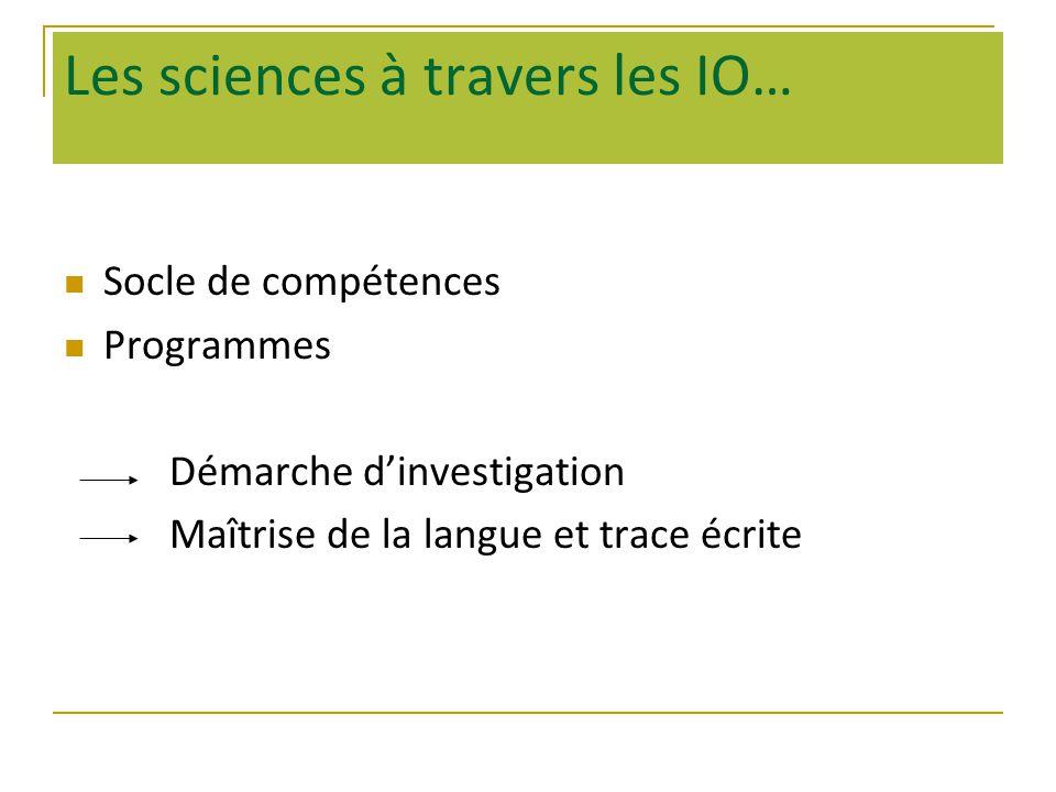 Les sciences à travers les IO…