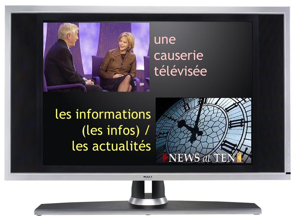une causerie télévisée les informations (les infos) / les actualités