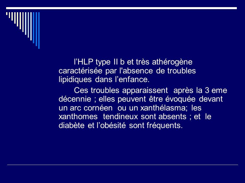 l'HLP type II b et très athérogène caractérisée par l absence de troubles lipidiques dans l'enfance.