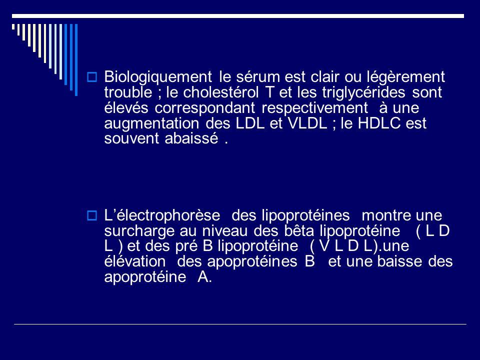 Biologiquement le sérum est clair ou légèrement trouble ; le cholestérol T et les triglycérides sont élevés correspondant respectivement à une augmentation des LDL et VLDL ; le HDLC est souvent abaissé .