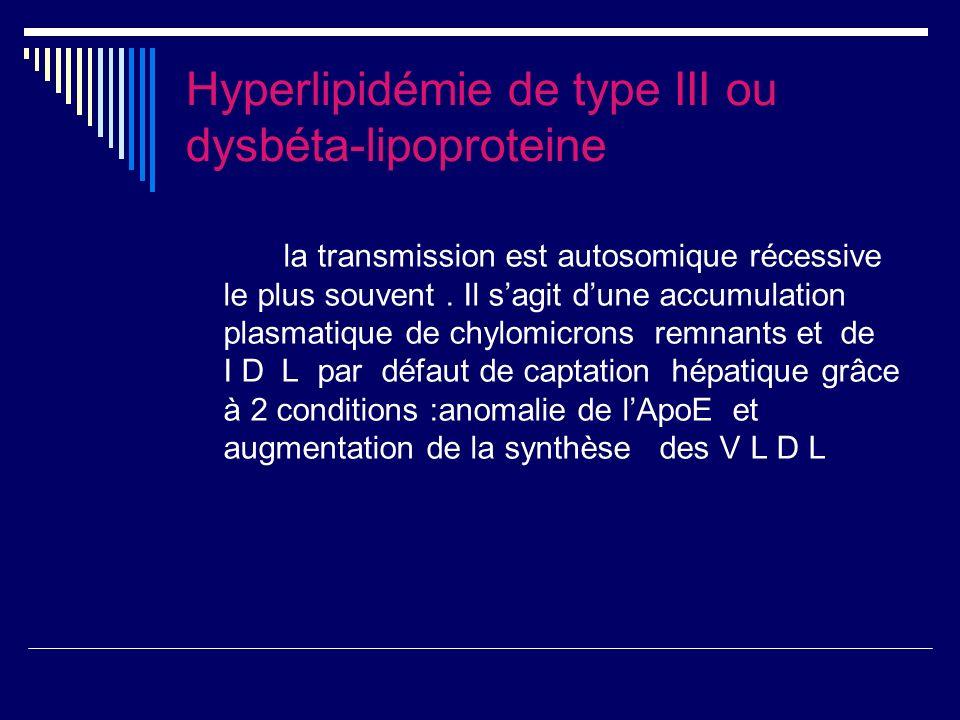 Hyperlipidémie de type III ou dysbéta-lipoproteine