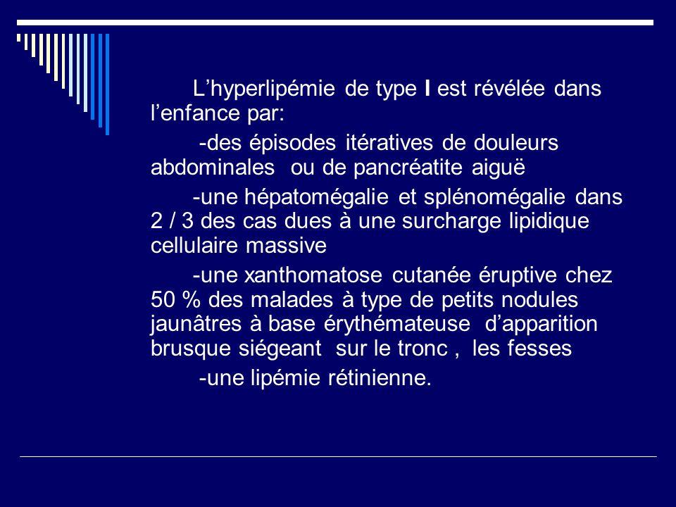 L'hyperlipémie de type I est révélée dans l'enfance par: