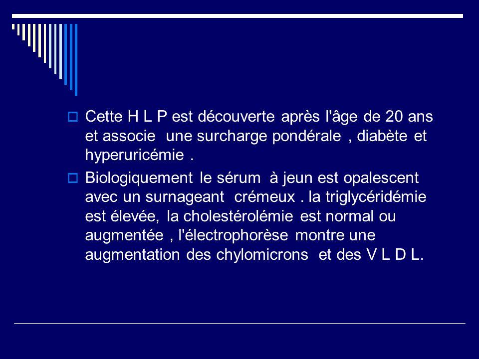 Cette H L P est découverte après l âge de 20 ans et associe une surcharge pondérale , diabète et hyperuricémie .