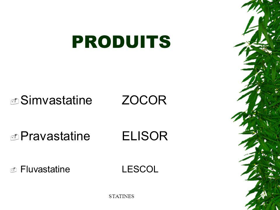 PRODUITS Simvastatine ZOCOR Pravastatine ELISOR Fluvastatine LESCOL
