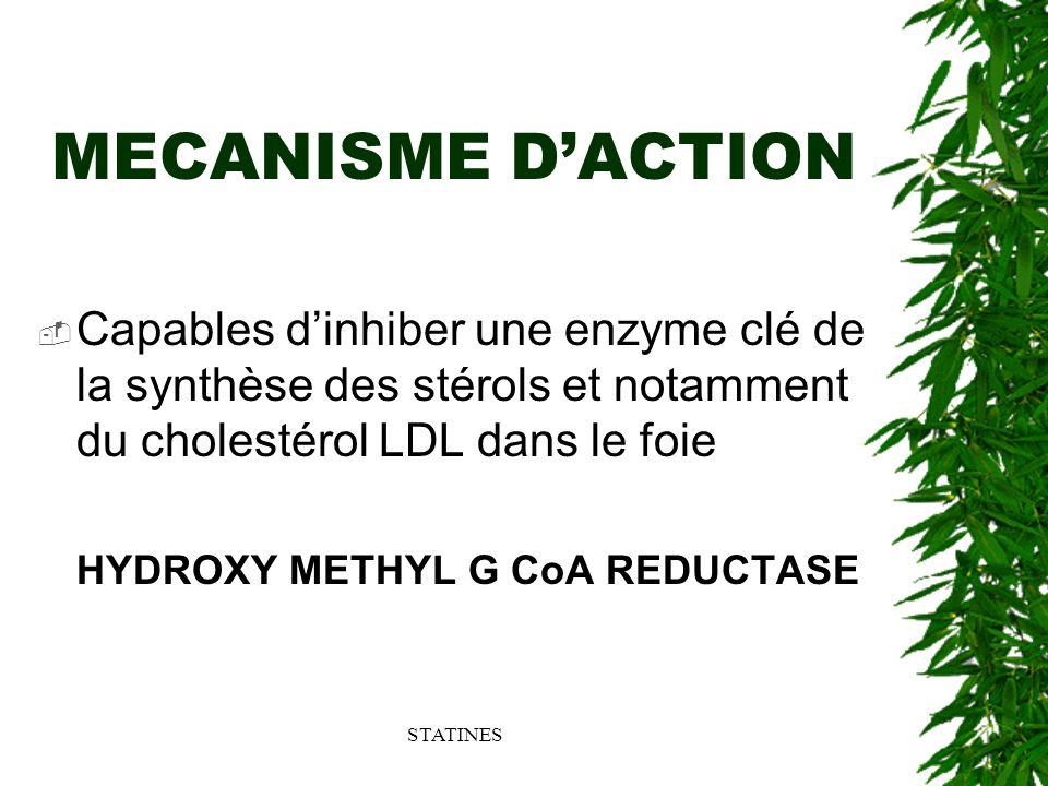 MECANISME D'ACTION Capables d'inhiber une enzyme clé de la synthèse des stérols et notamment du cholestérol LDL dans le foie.