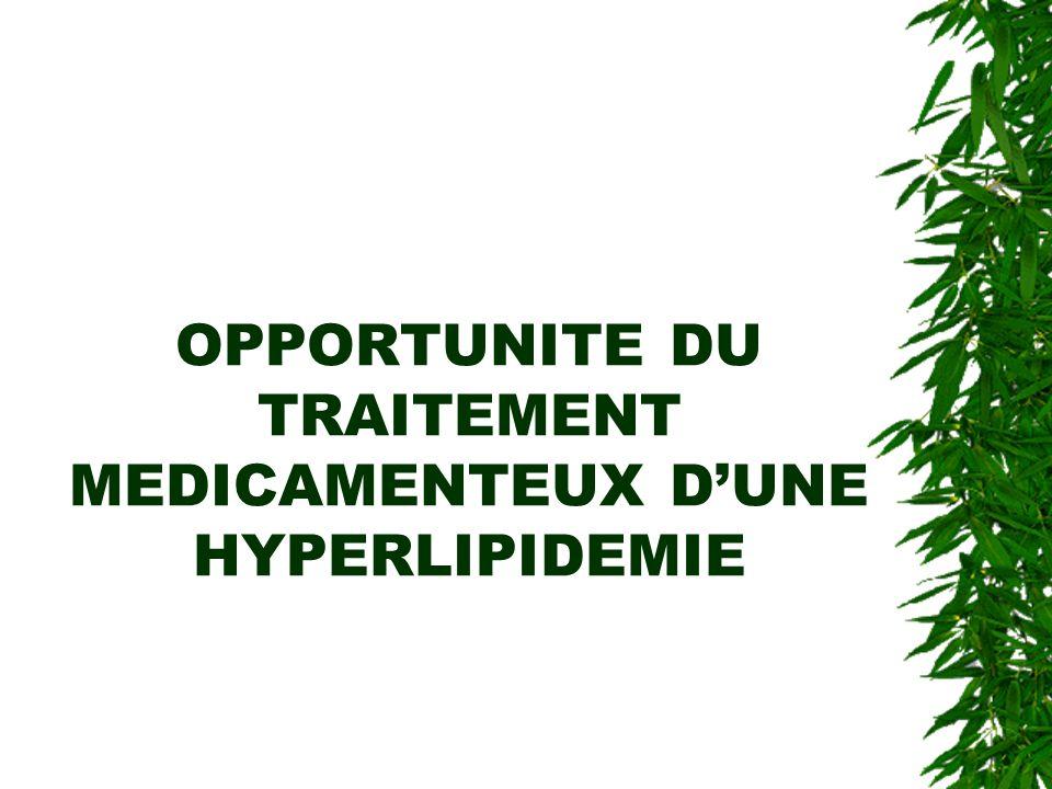OPPORTUNITE DU TRAITEMENT MEDICAMENTEUX D'UNE HYPERLIPIDEMIE