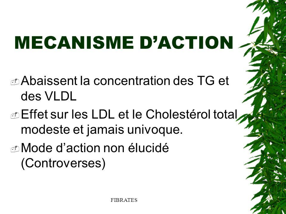 MECANISME D'ACTION Abaissent la concentration des TG et des VLDL