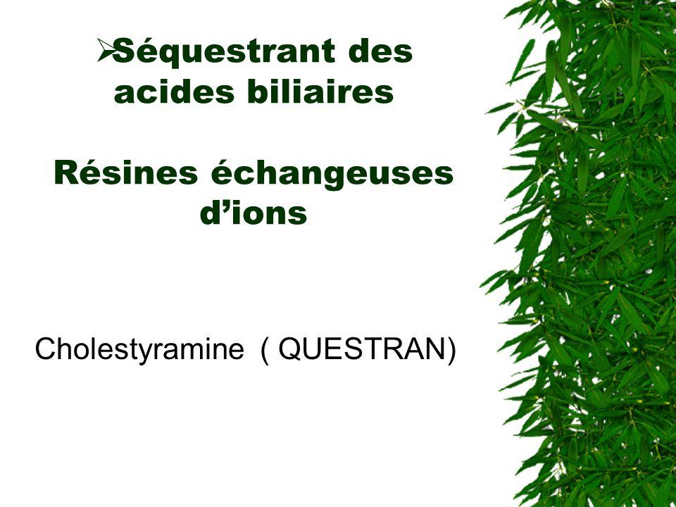 Séquestrant des acides biliaires Résines échangeuses d'ions