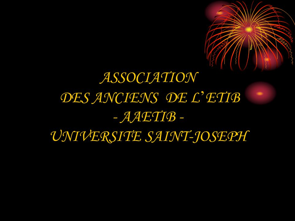 ASSOCIATION DES ANCIENS DE L'ETIB - AAETIB - UNIVERSITE SAINT-JOSEPH